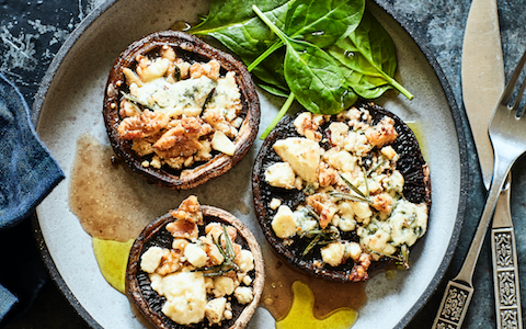Garlic Roasted Mushrooms with Walnut Crumble